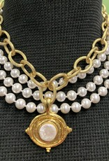 Susan Shaw Susan Shaw Gold Cab/Coin Pearl Necklace