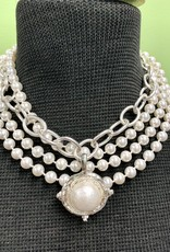 Susan Shaw Susan Shaw Silver Chain/Pearl Necklace