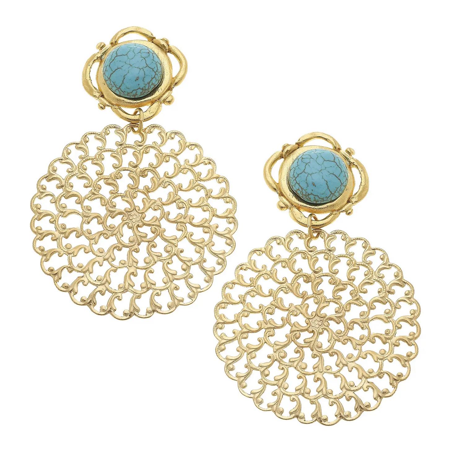 Susan Shaw Susan Shaw Gold/Turq Earring