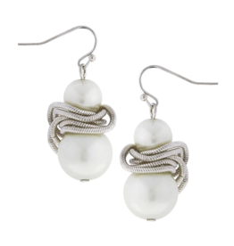 Susan Shaw Susan Shaw Silver/White Pearl Earring