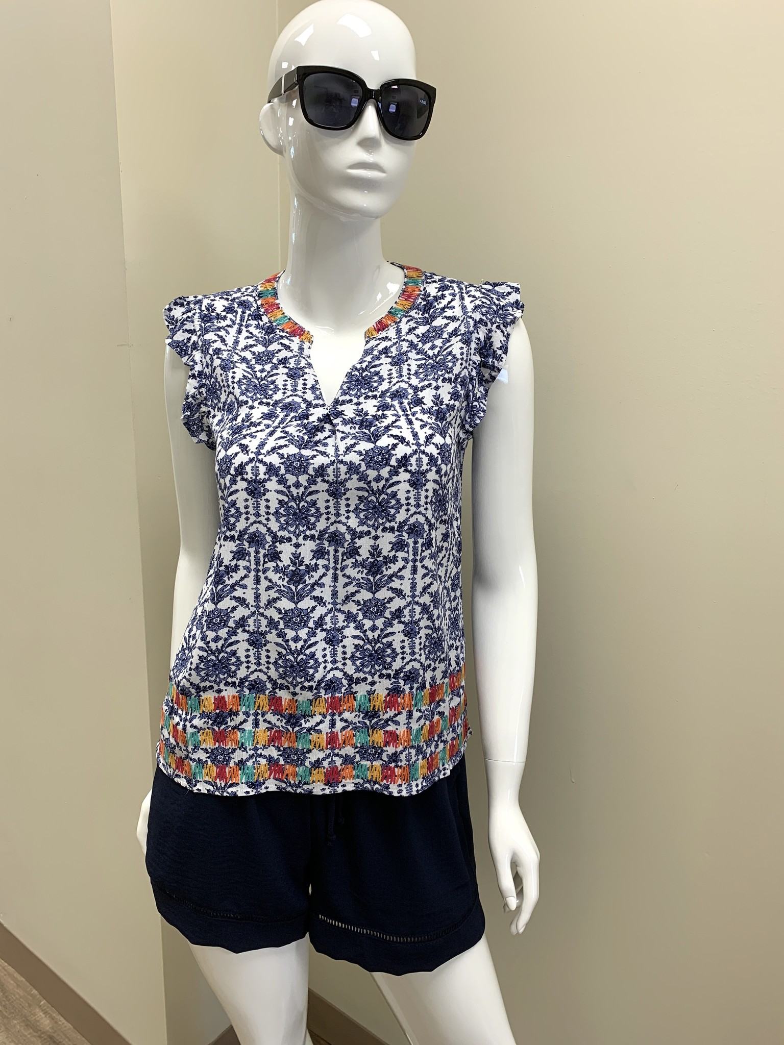 THML Printed Embroidered Top