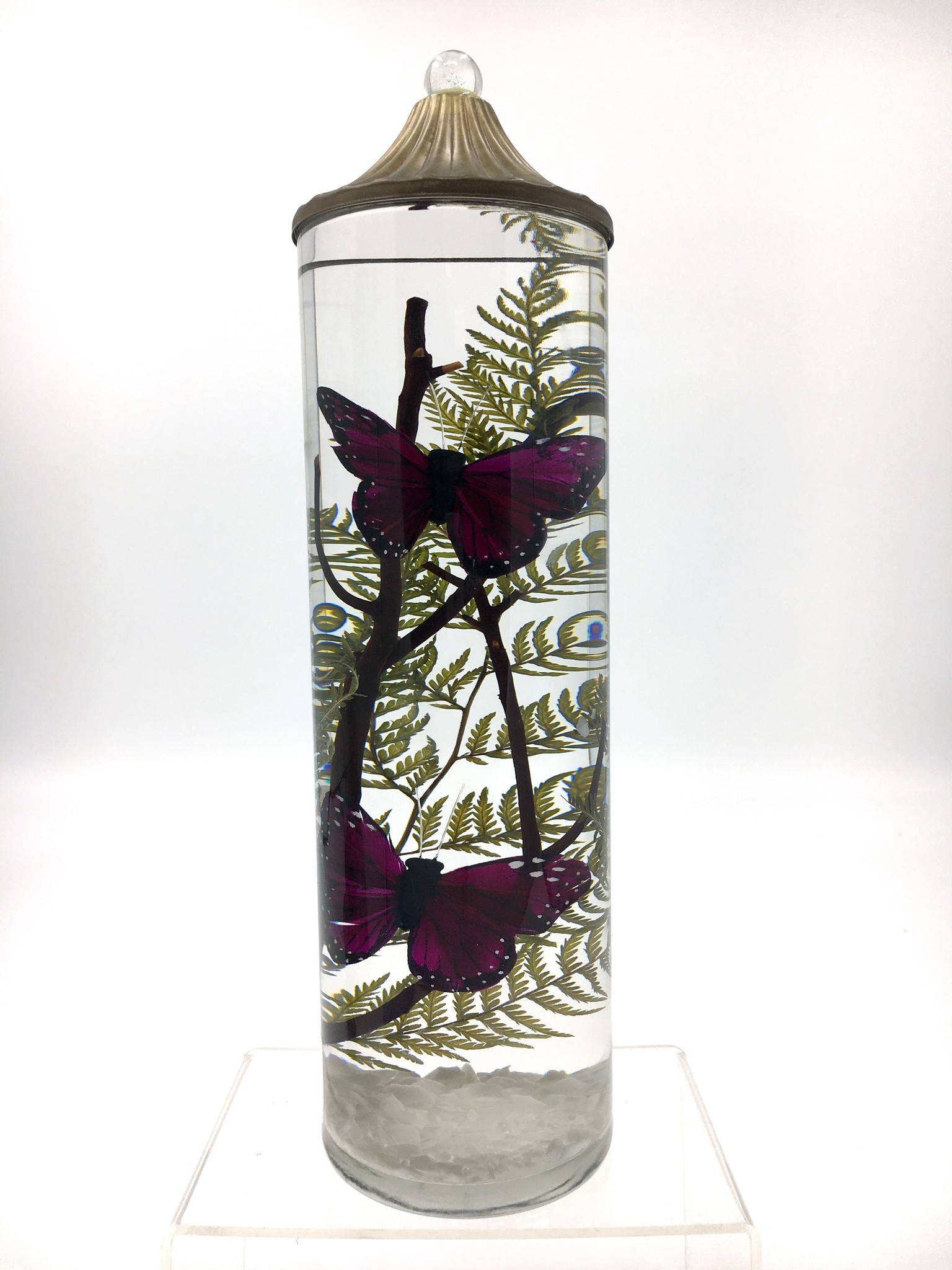 Lifetime Candle Large Cylinder - Purple Butterfly