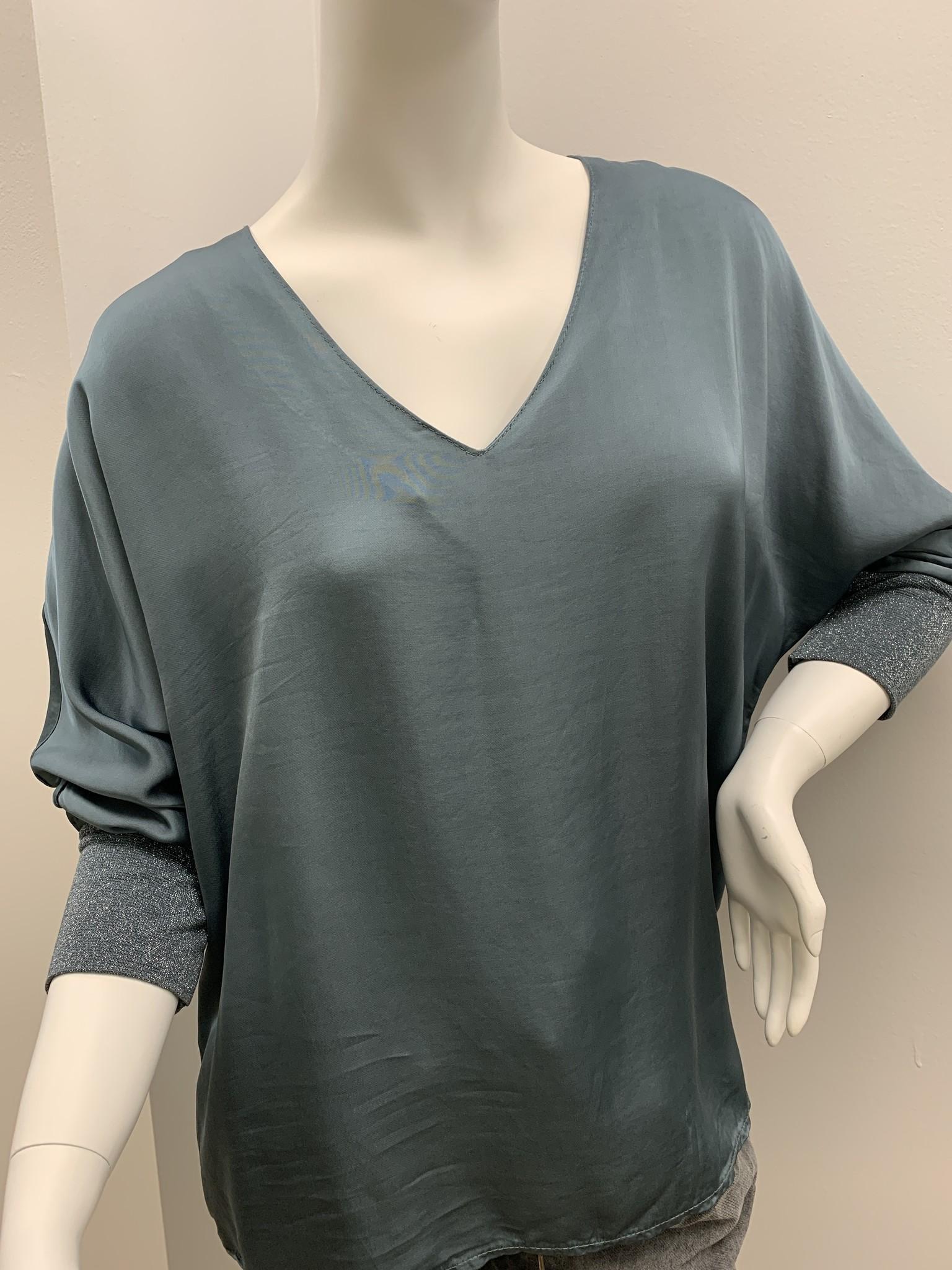 Brand Bazar Silk Glitter Sleeve Top - Water