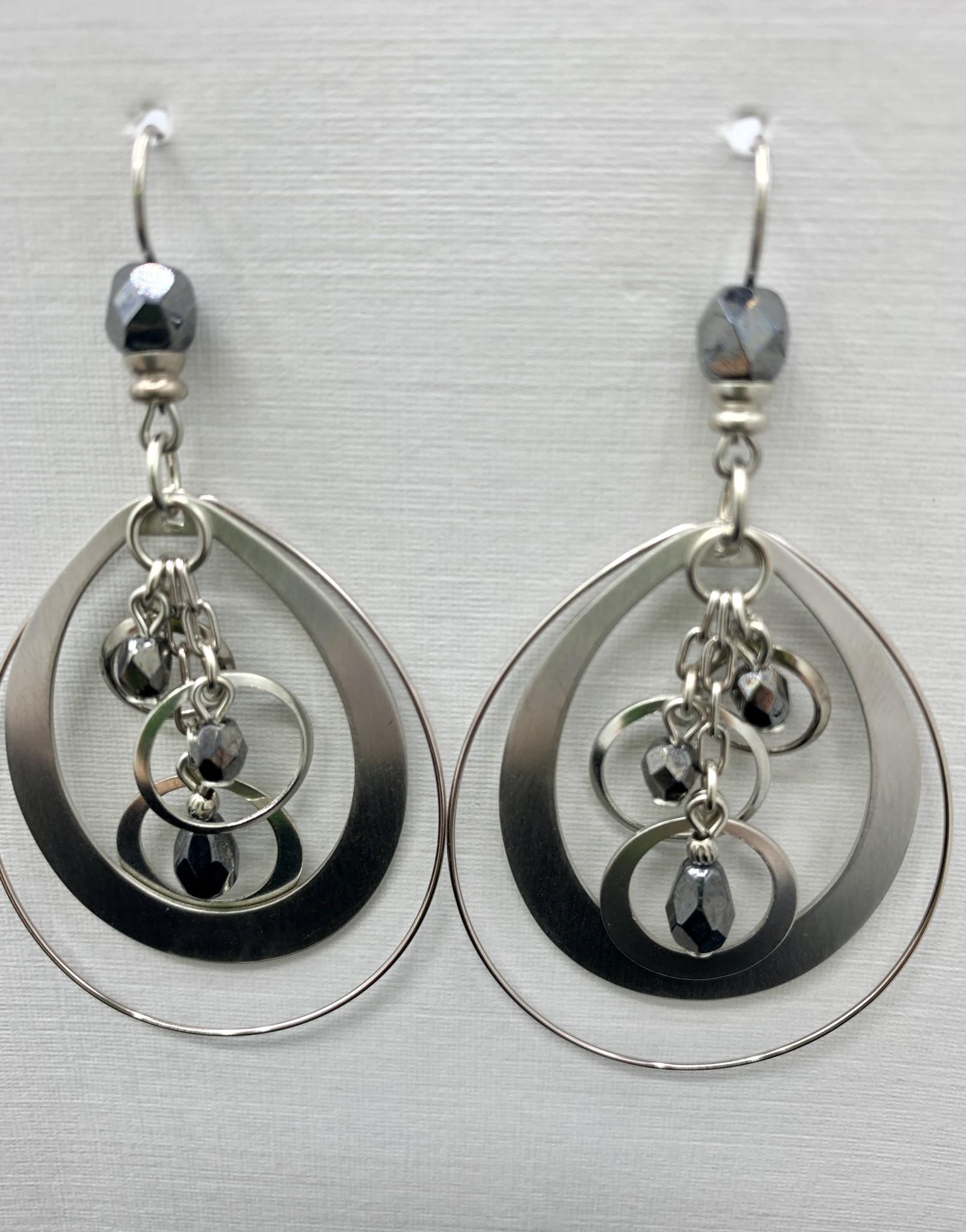 JMR Earrings- Smoke/Silver