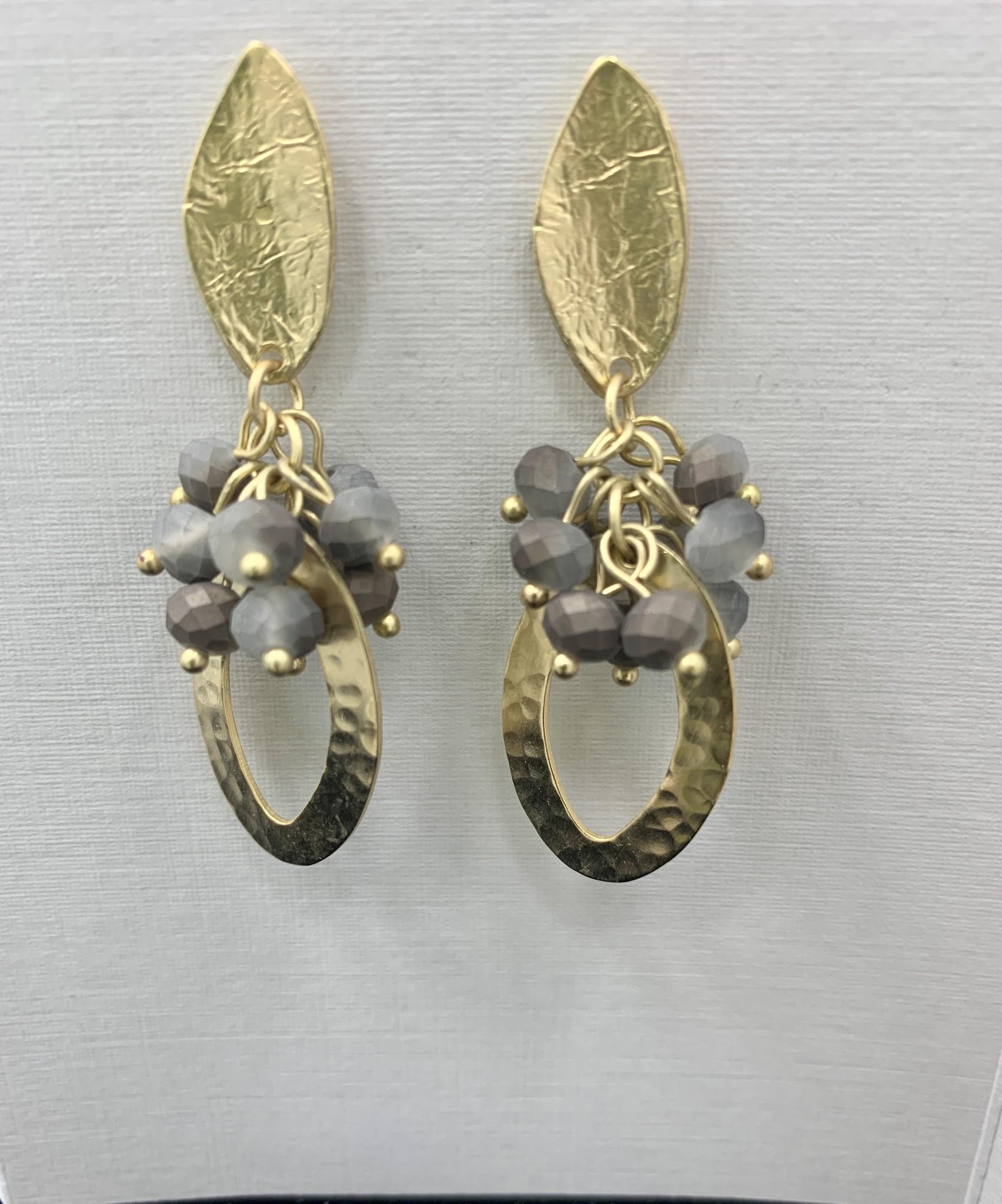JMR Earrings - Gold/Stone