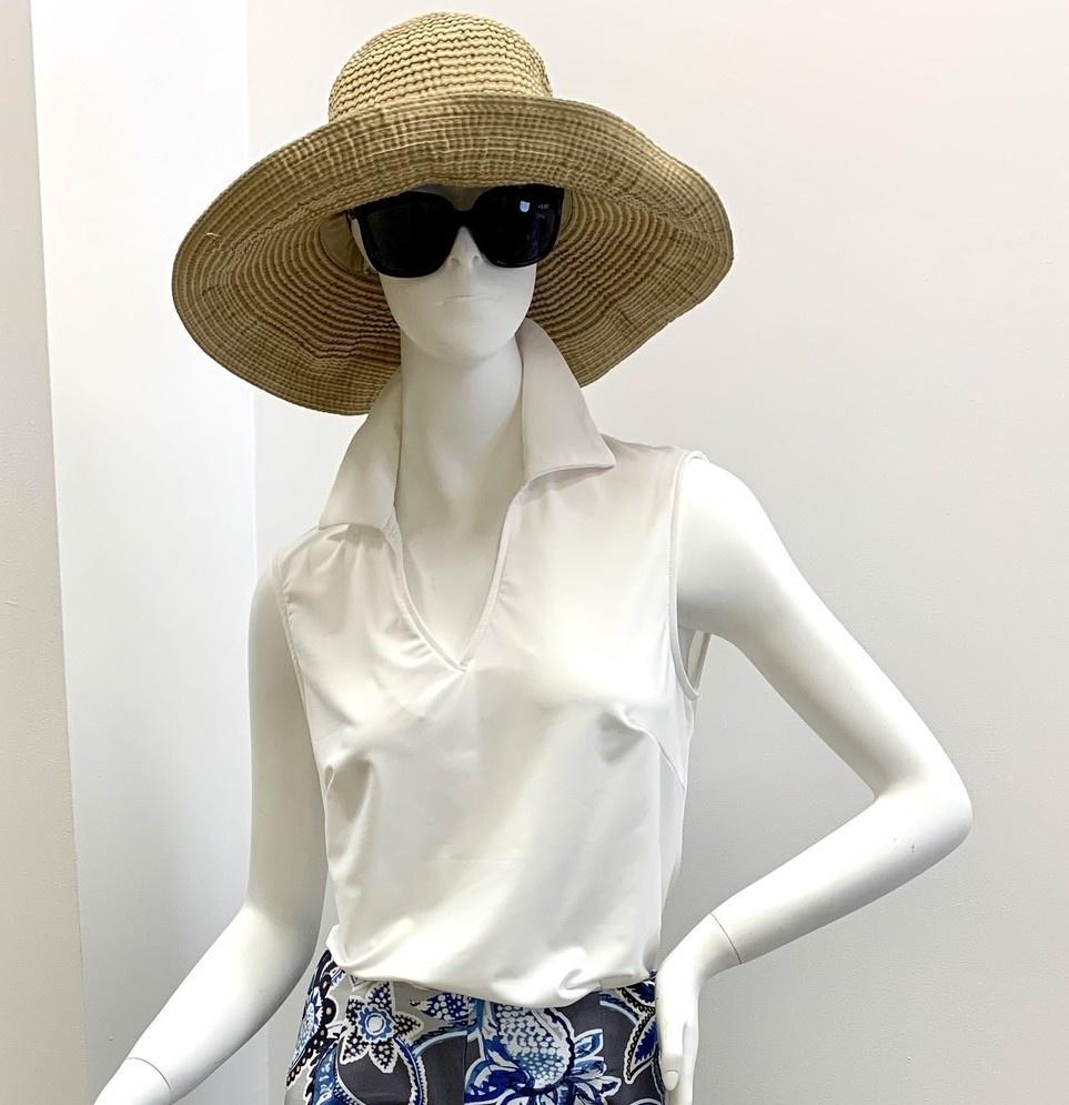 Aryeh Sleeveless Collar Top - White