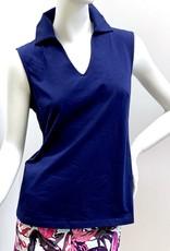 Aryeh Sleeveless Collar Top - Navy