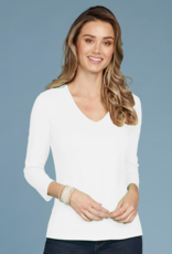 Judy P Judy P. Relaxed Fit V-Neck - White