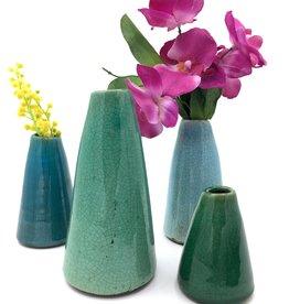 Creative Co-Op Set 4 Aqua Terra Cotta Vases