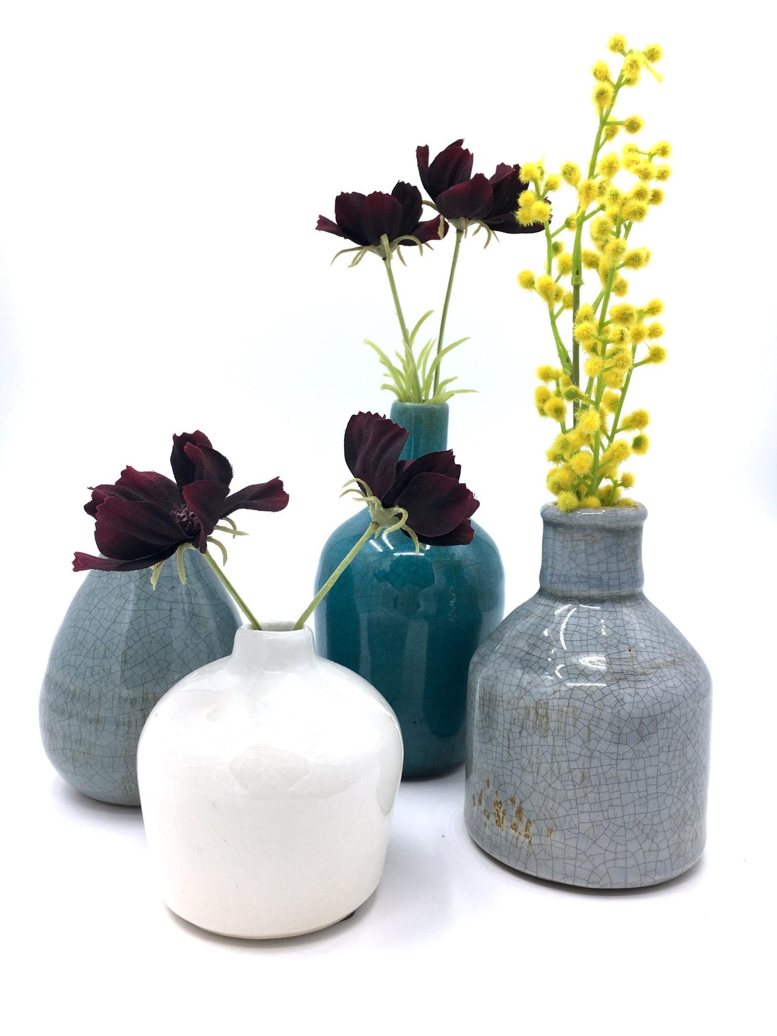 Creative Co-Op Set 4 Blue & White Terra Cotta Bud Vases