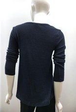 Dylan Waffle Long Sleeve Crew Top - Vintage Navy