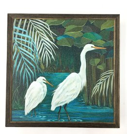 Wandering Egrets - 6x6 Mini Framed Art