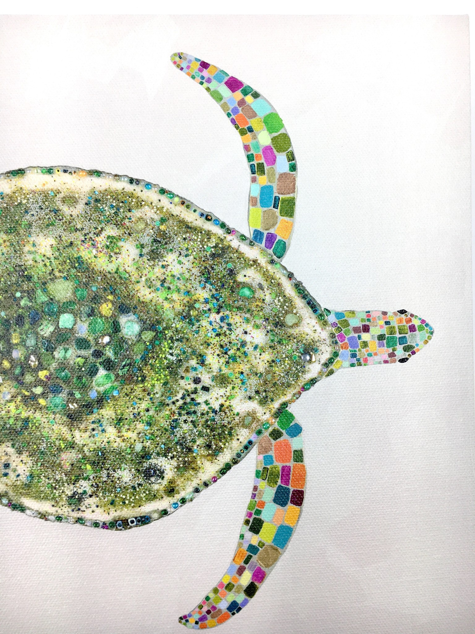 Jeweled Sea Turtle - 10x10 Canvas Art