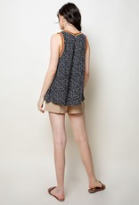 THML Navy/Red Embroidered Sleeveless Top
