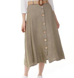 Charlie B Charlie B Linen Skirt with Belt - Hunter