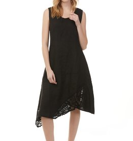 Charlie B Charlie B Asymetrical w Lace Dress - Black