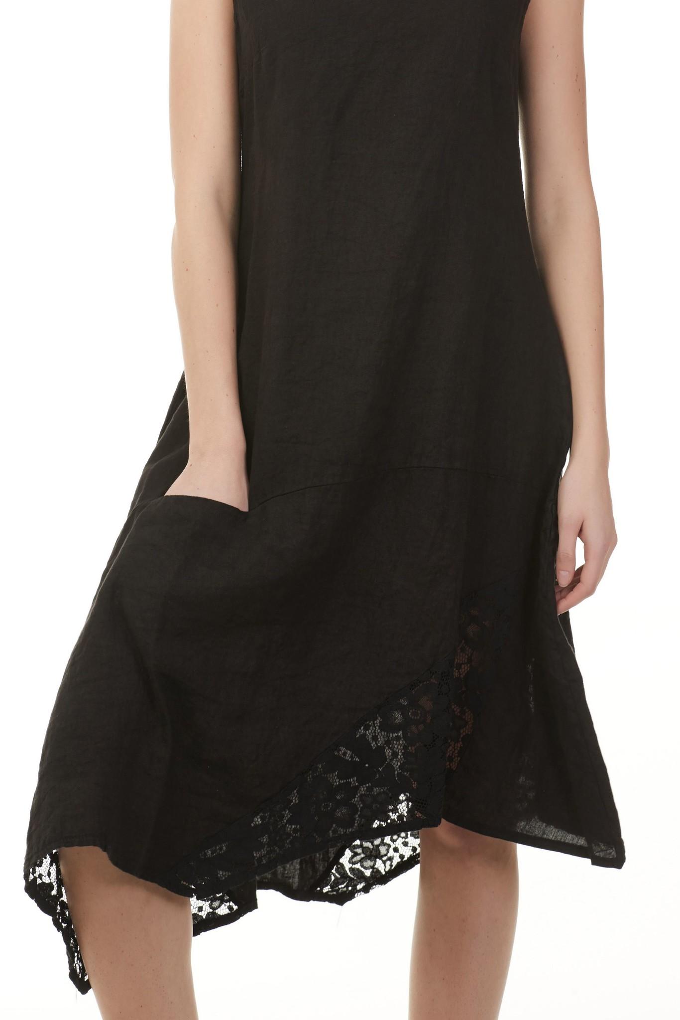 Charlie B Charlie B Asymetrical w Lace Dress - Black
