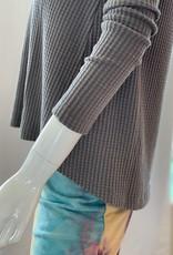 Dylan Waffle Long Sleeve Crew Top - Vintage Grey