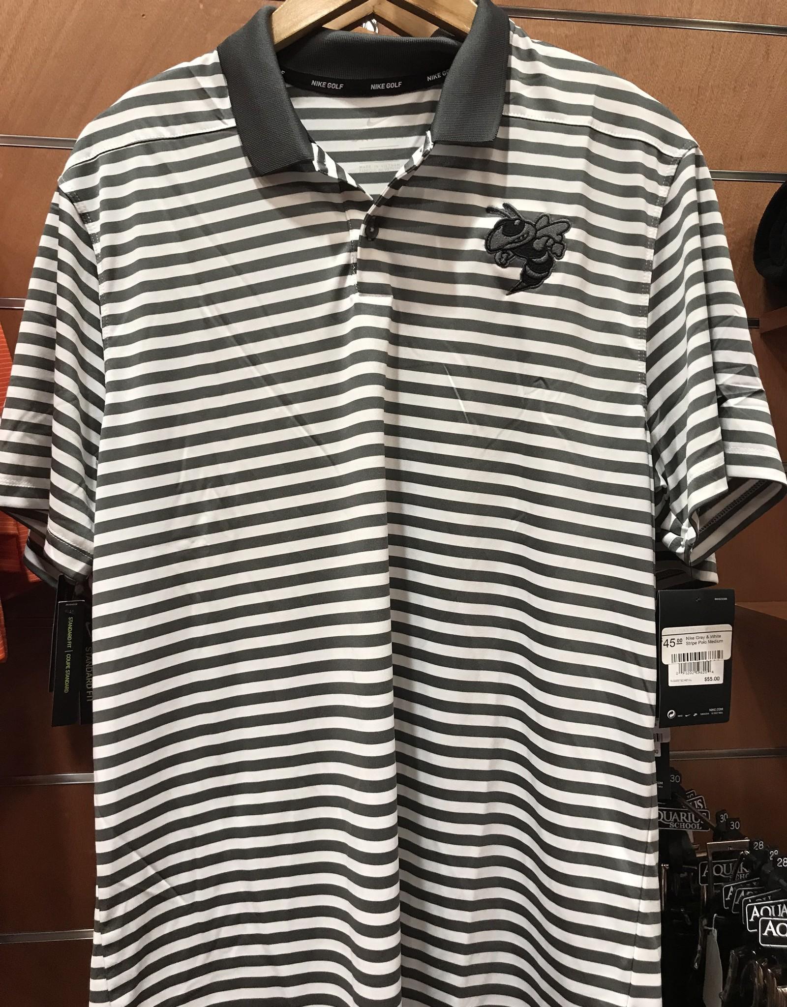 Nike Gray & White Stripe Polo