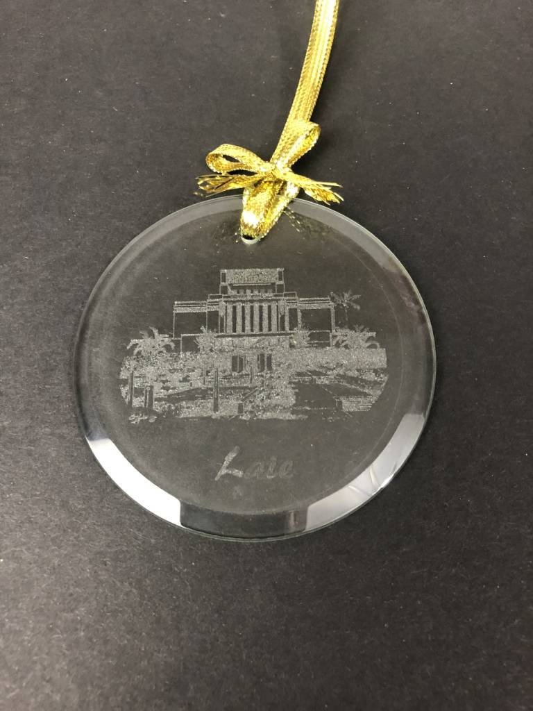 LAIE TEMPLE ETCHED GLASS ORNAMENT IN BOX