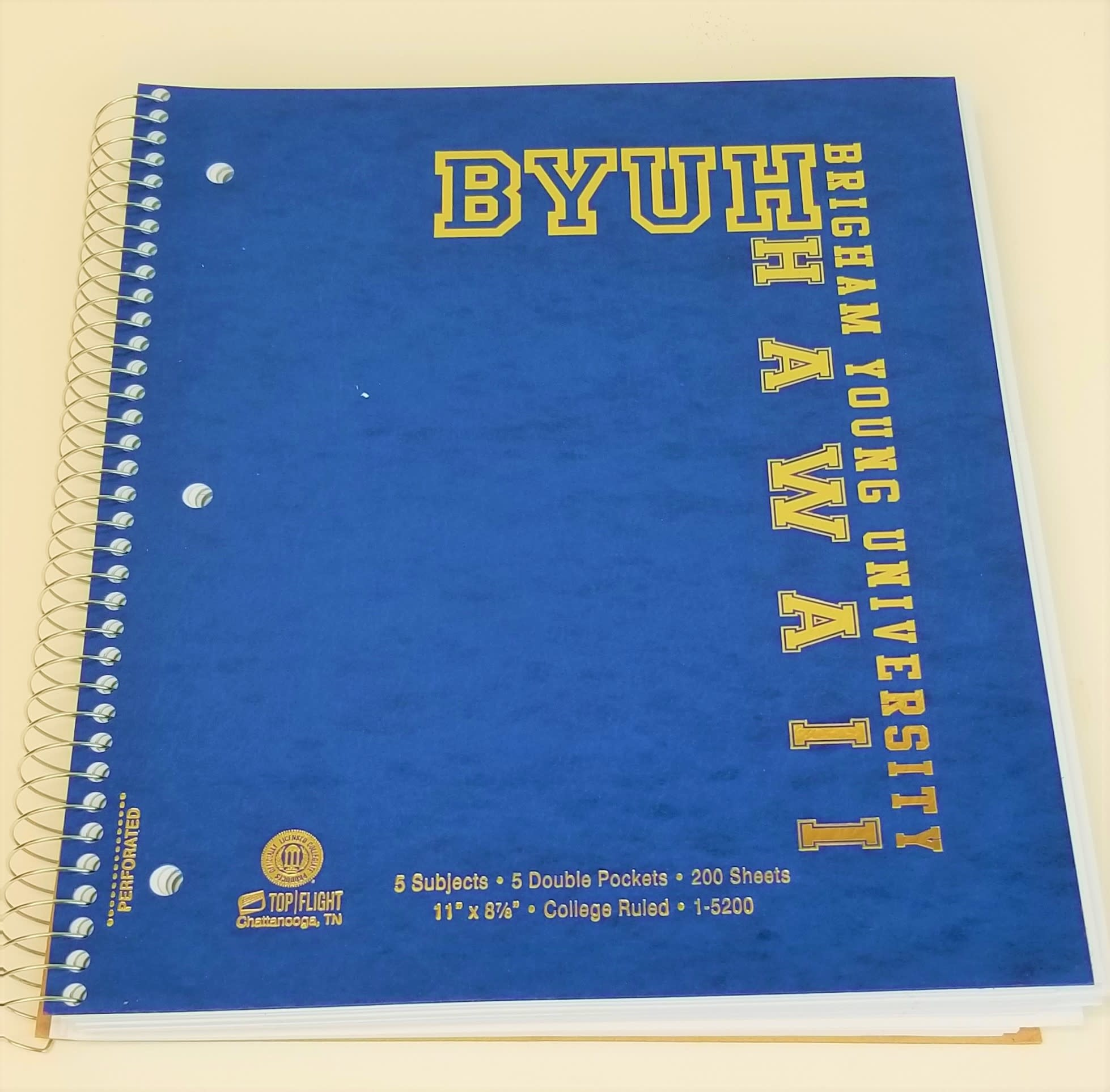 BYUH GOLD FOIL 5 SUBJECT/200 SHT NOTEBOOK