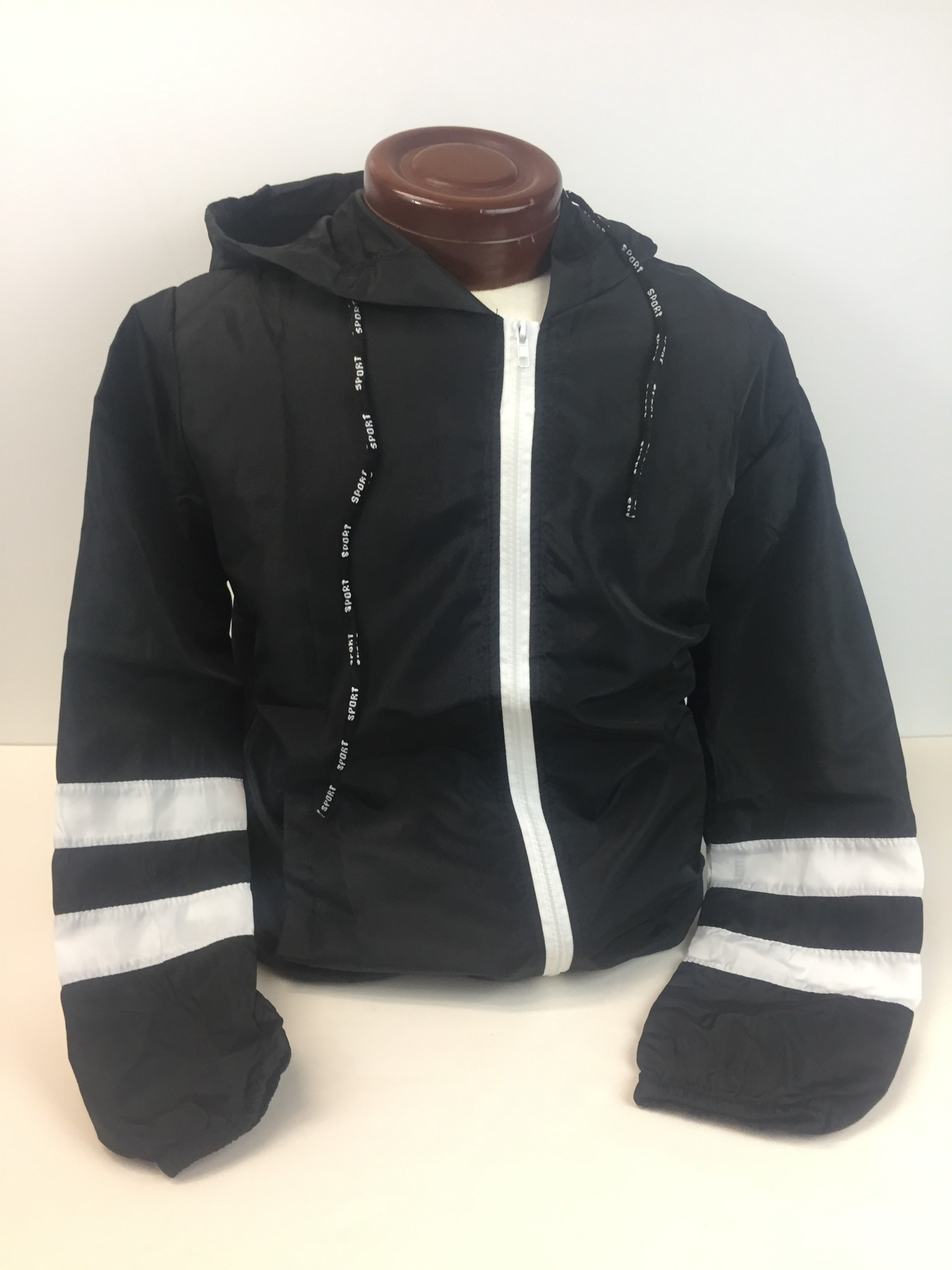 Striped hoodie windbreaker