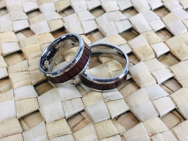 Koa Padauk Ring with Wood Inlay