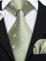 Pineapple Tie with Cuff Link Handkerchief