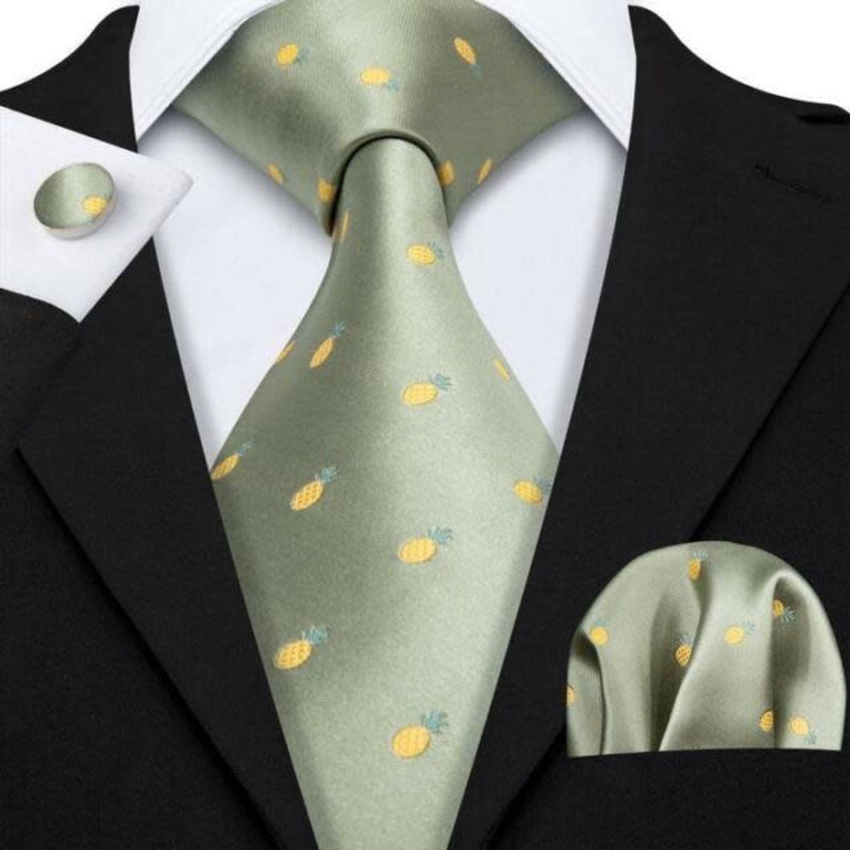 Pineapple Tie with Cuff Link Handkerchief