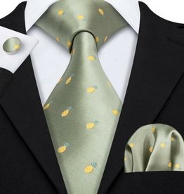 Pineapple Tie with Cuff Link Hankerchief