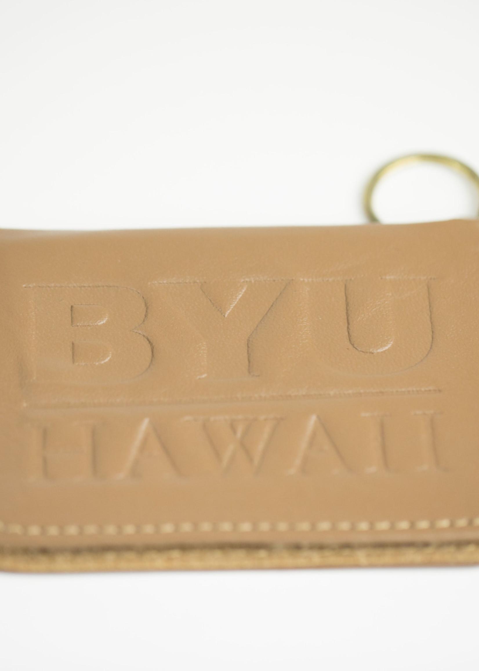 Clearance - BYU–Hawaii Leather Pass Key Case Tan