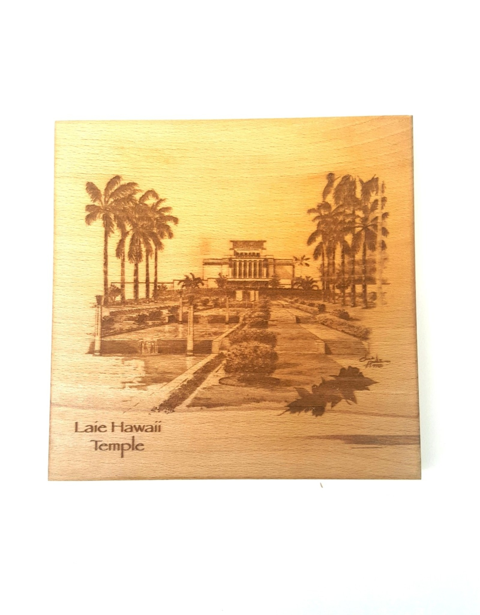 WOODEN 6X6 LAIE TEMPLE ETCHED TILE