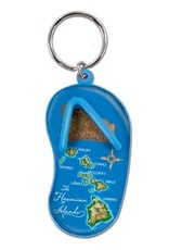 KEY CHAIN SAND SLIPPER HAWAII MAP - BLUE