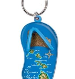 KEY CHAIN SAND SLIPPER HAWAII MAP - BLUE