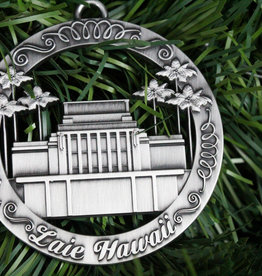 ORNAMENT LAIE TEMPLE ROUND CUTOUT SILVER