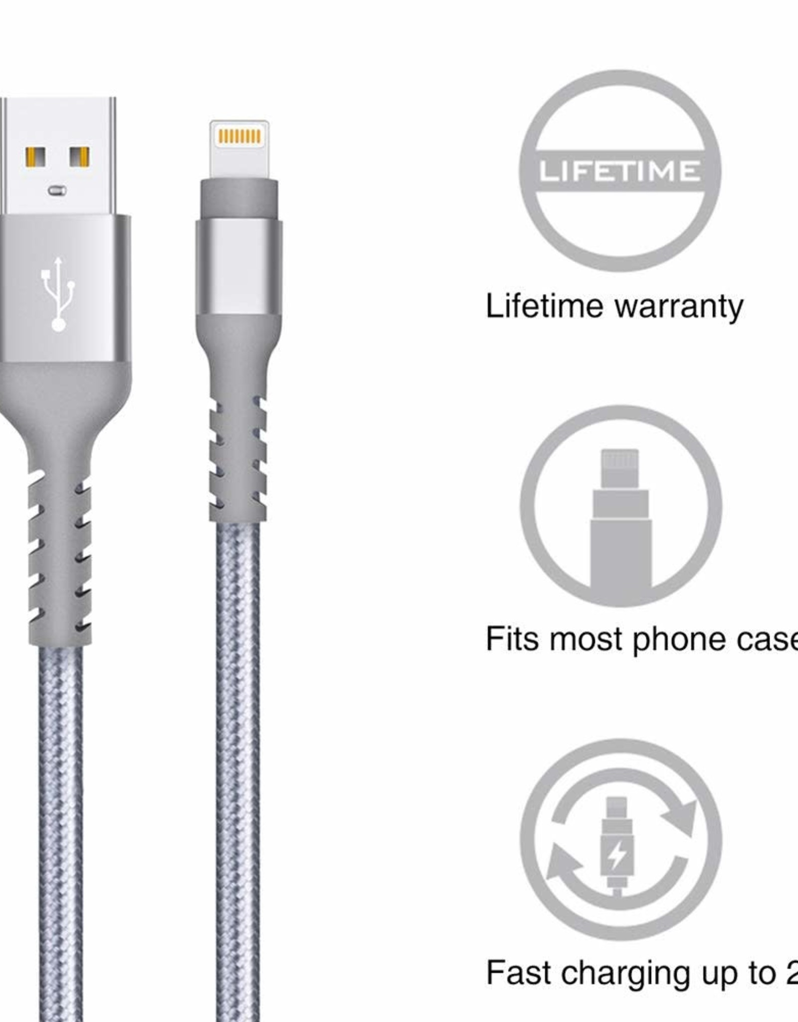 IPHONE Nylon CHARGER asst