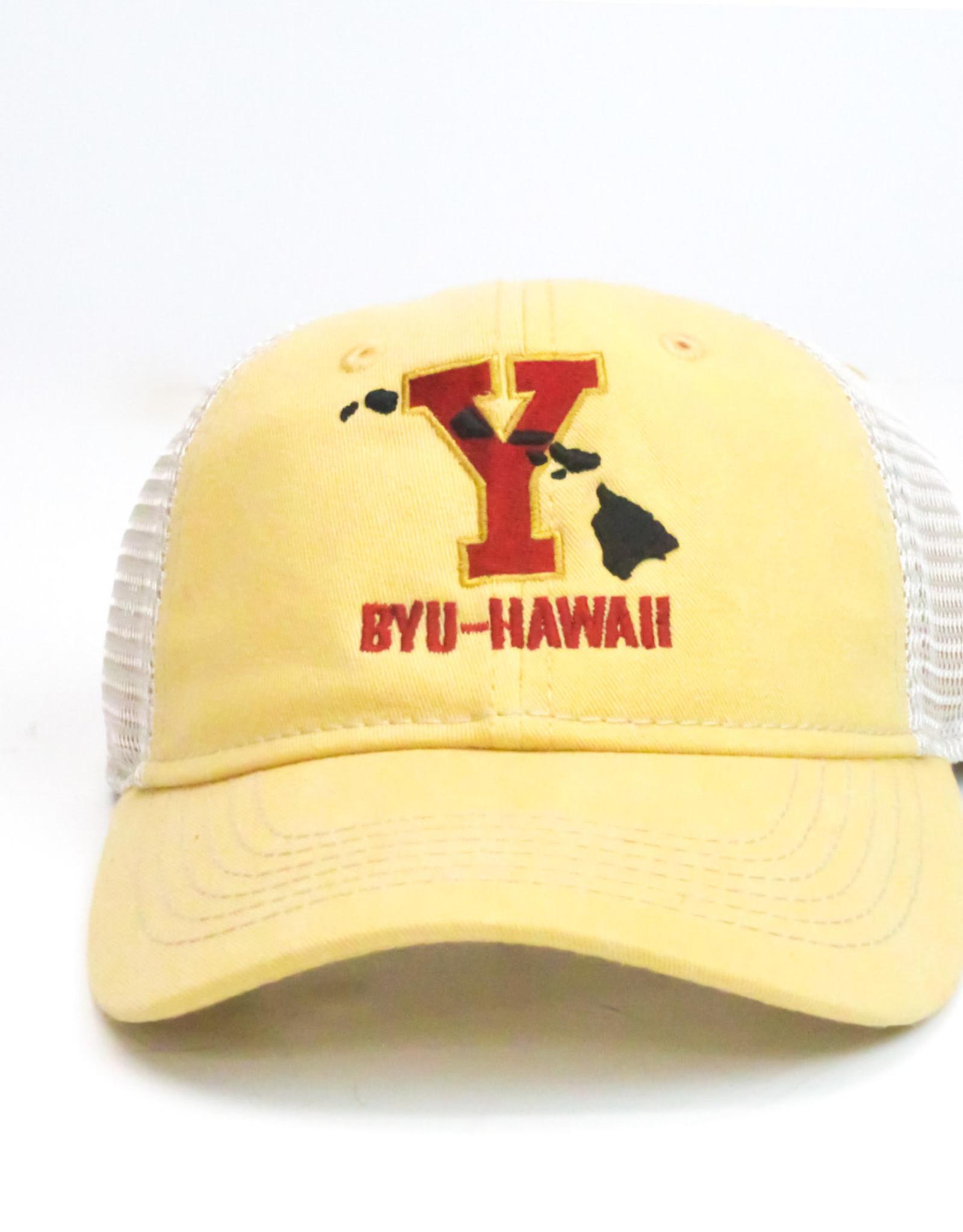 """Blue 84 BYU-Hawaii Low-Pro Pigment Wash Trucker (""""Y"""" w/Islands)"""