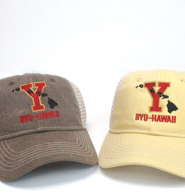 "Blue 84 BYU-Hawaii Low-Pro Pigment Wash Trucker (""Y"" w/Islands)"