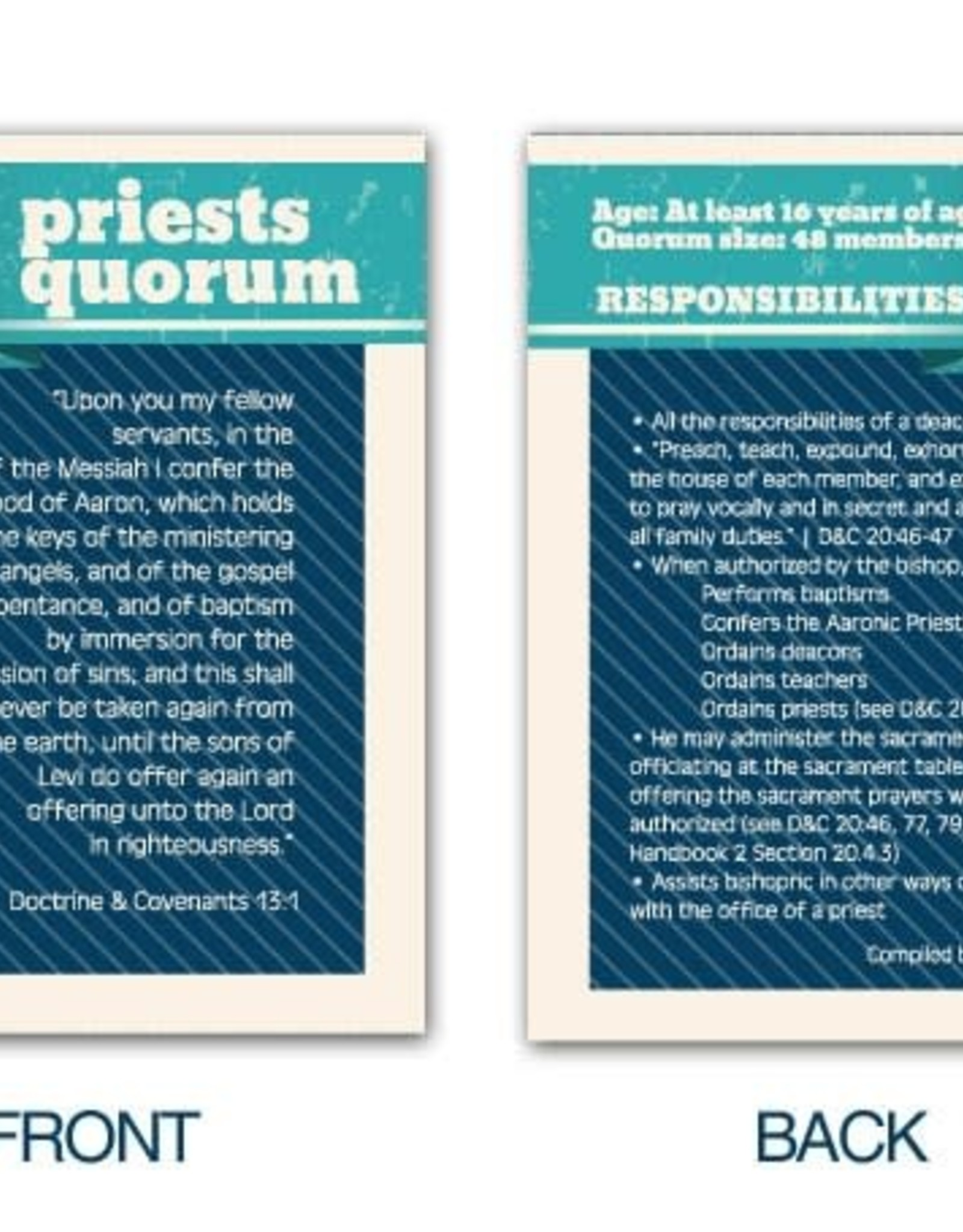 PRIESTS QUORUM POCKET CARDS
