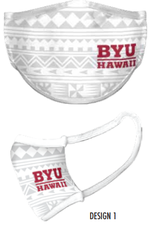 Face Mask - BYUH White Tonal Tribal -