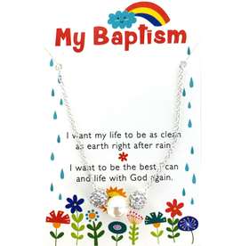 Baptism Necklace - White Sparkle