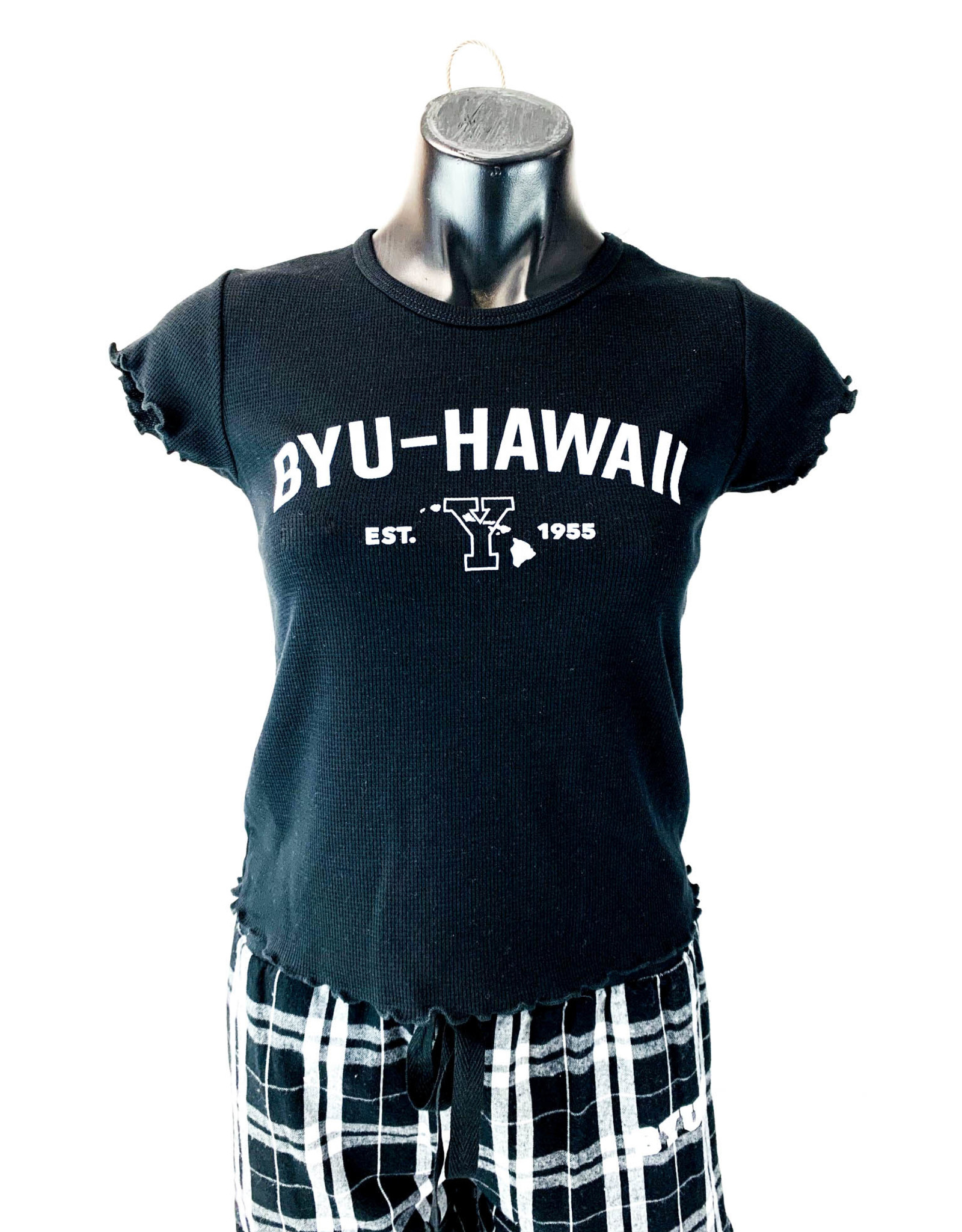 Blue 84 Clearance - BYU-Hawaii Lettuce Edge Women's Ribbed Tee