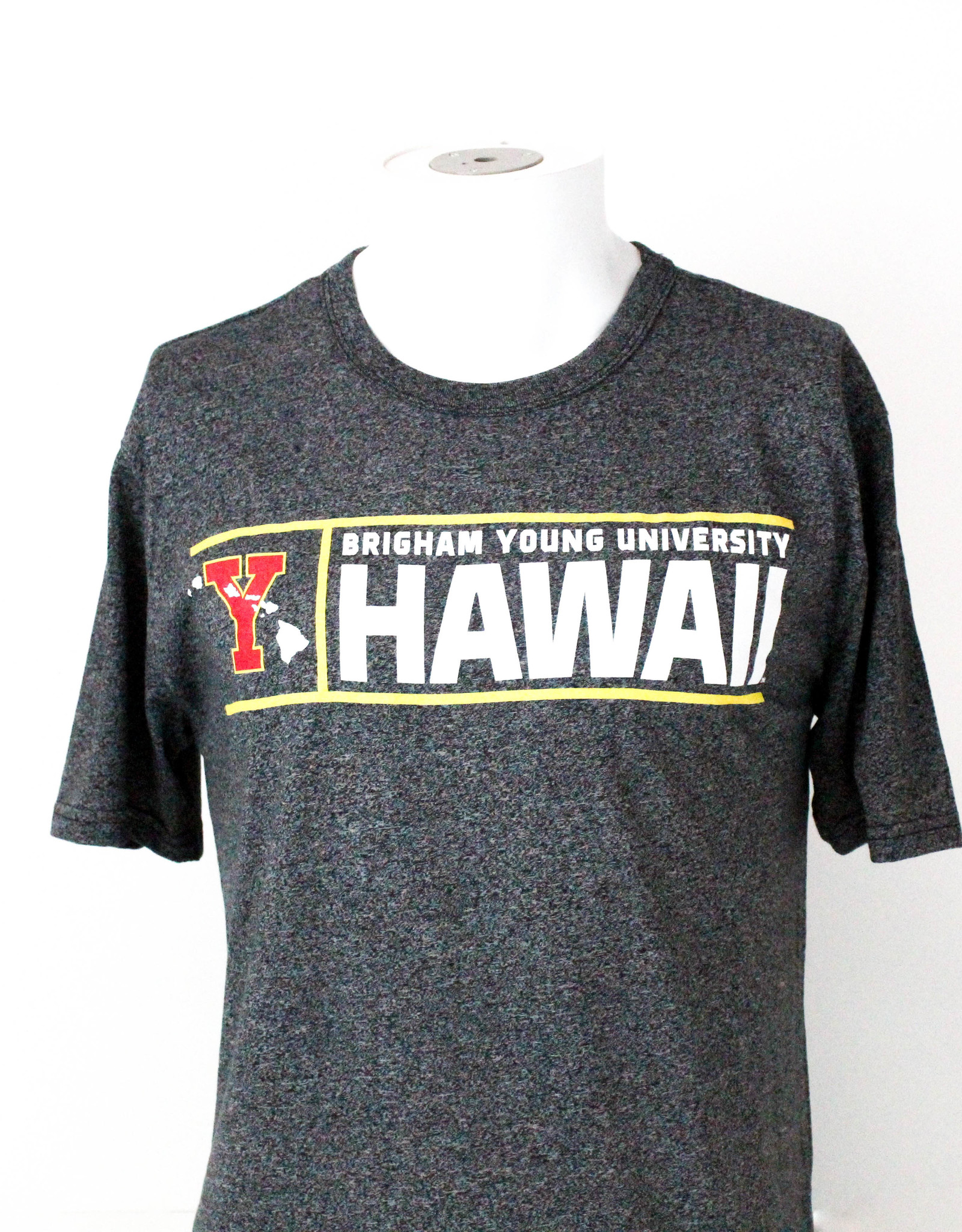 "Blue 84 BYU-Hawaii Red ""Y"" w/ Islands and Yellow Lining Tee"