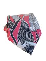 Pineapple Palaka Pineapple Palaka Ties -  Birds of Paradise Pink/Black Modern Necktie