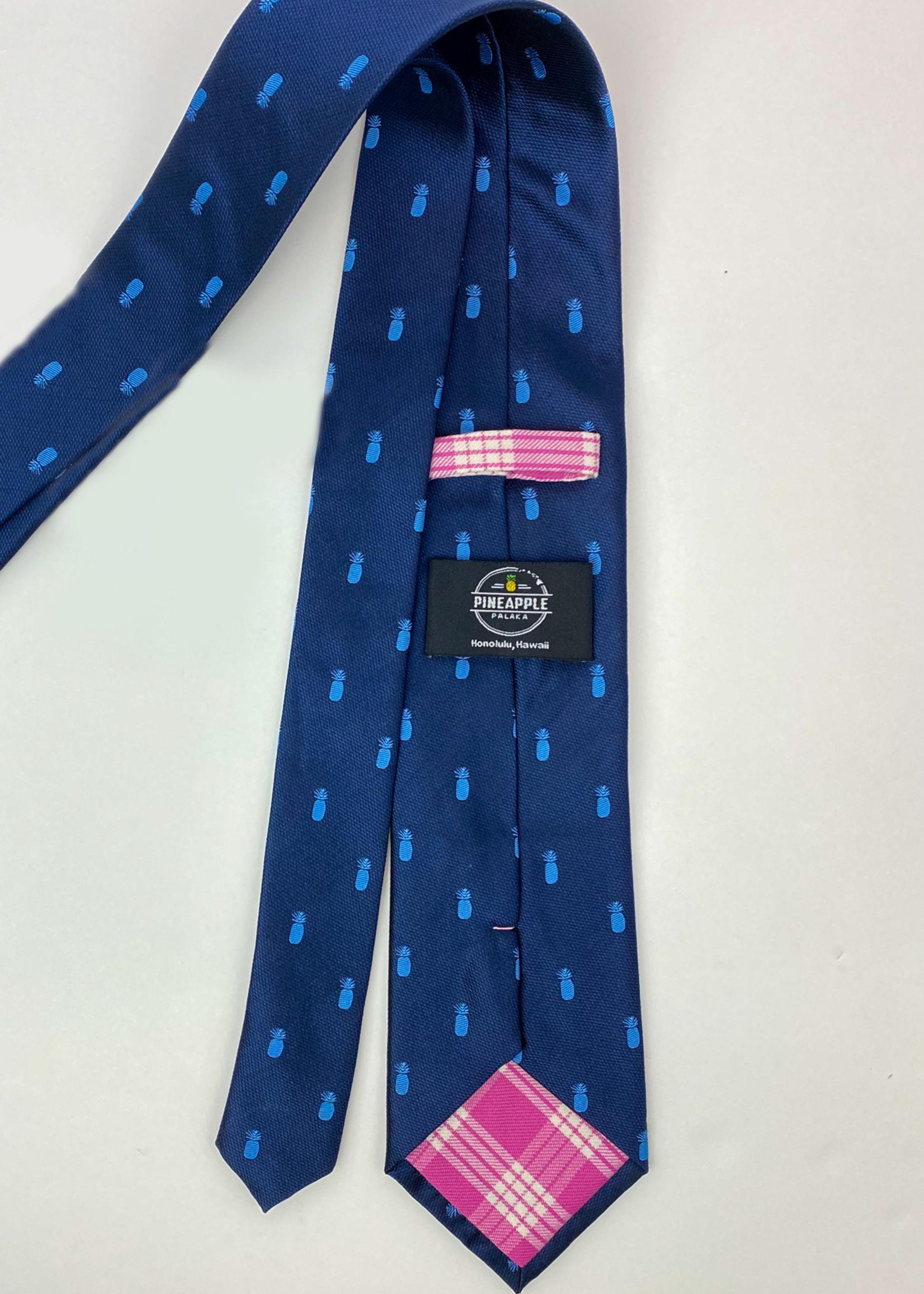 Pineapple Palaka Pineapple Palaka Ties -  Pineapple Vice Navy/Light Blue Modern Necktie