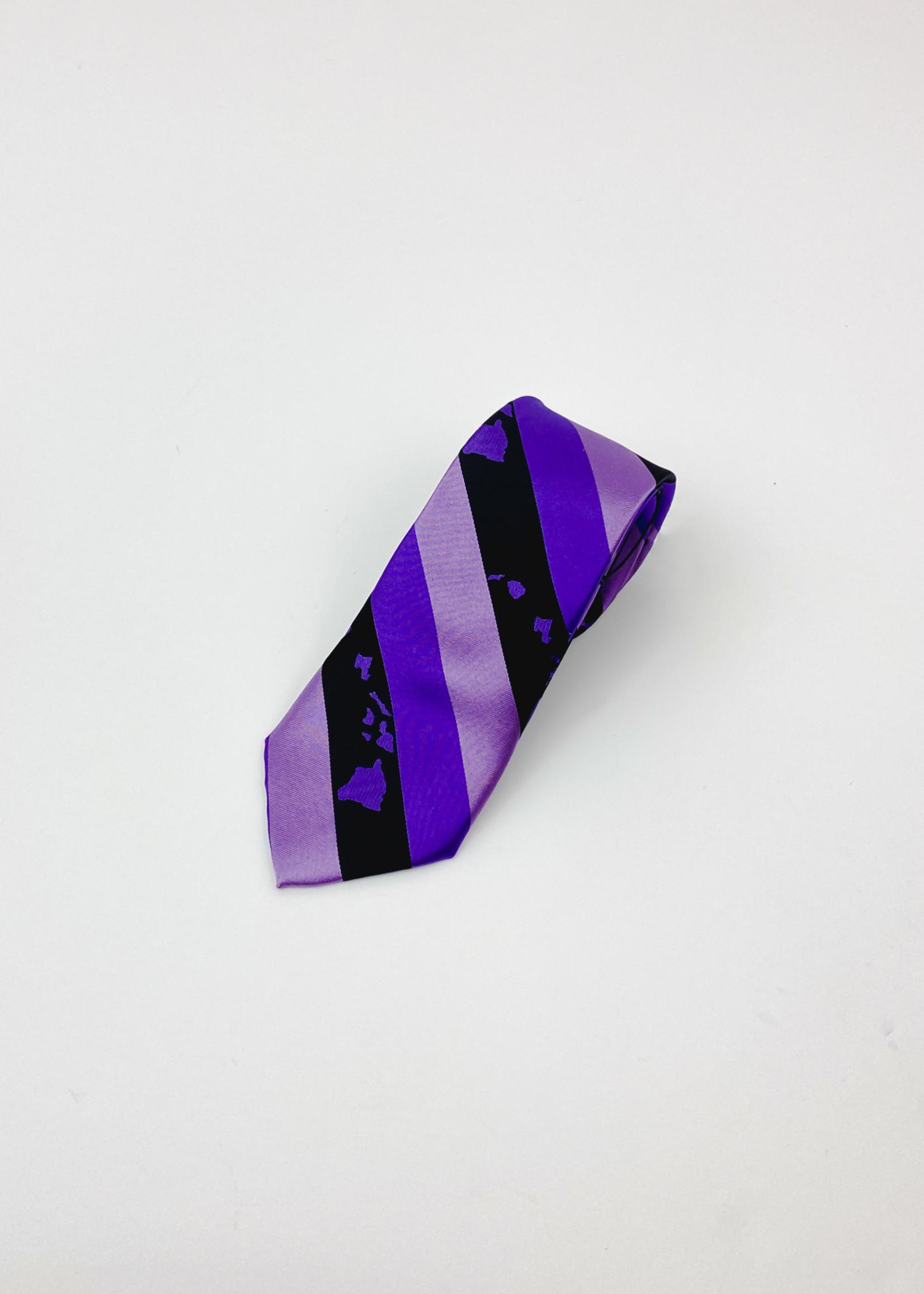 Pineapple Palaka Pineapple Palaka Ties -  Hawaiian Islands Purple Modern Necktie