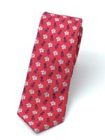 Pineapple Palaka Pineapple Palaka Ties -  Pineapple Hibiscus Loose Red/Silver/Blue Slim Necktie