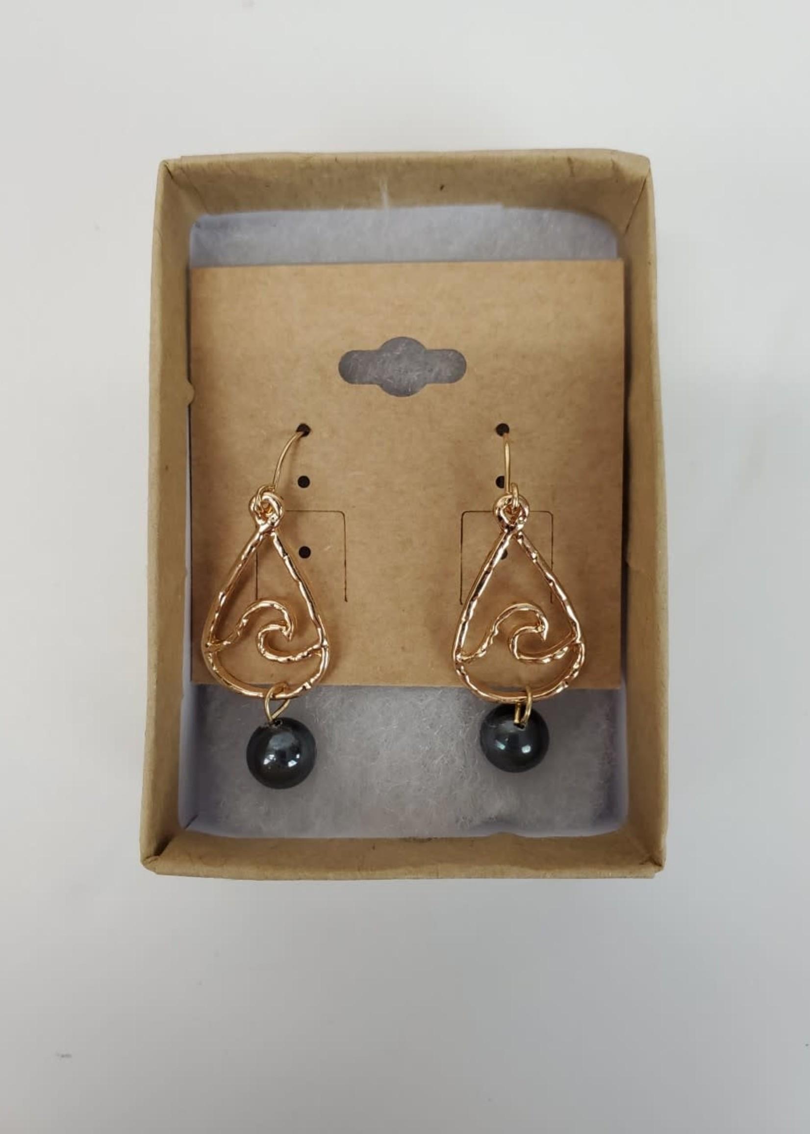 Gold Plated Wave Dangle w/MOP Teardrop Earrings