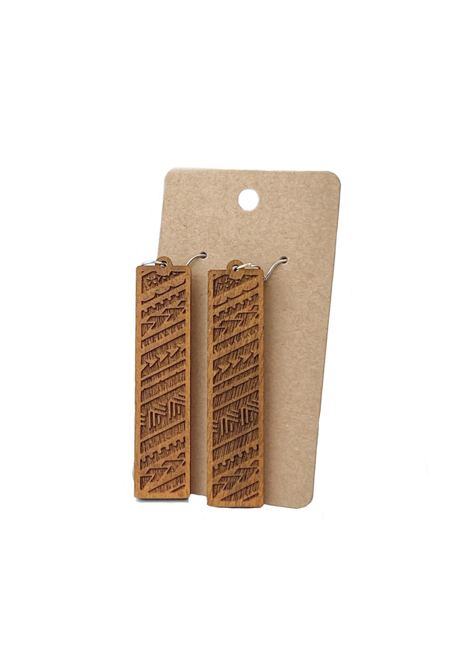 Carved Tribal Rectangle Dangle Earrings
