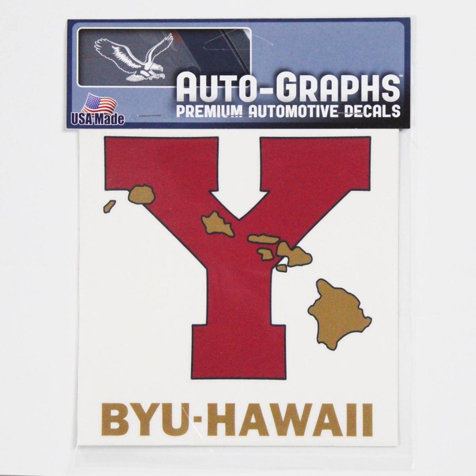 DECAL LARGE BYUH -  #6 RED Y W/GOLD HI ISLANDS